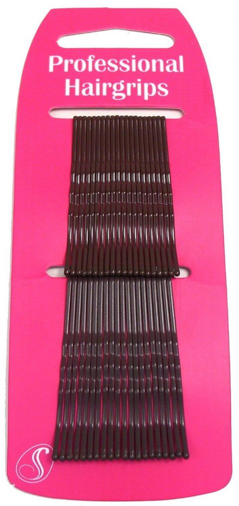 40 Professional Kirby Hair Grips Brown